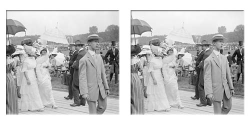 Lartigue stereo of mannequins at Auteuil racecourse