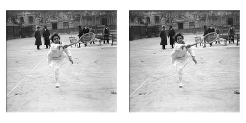 Lartigue stereo of Suzanne Lenglen playing forehand drive
