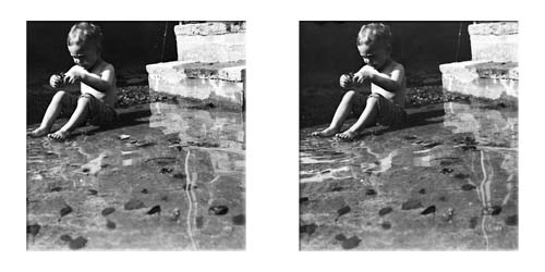 Unpublished Lartigue stereo of little boy in pool