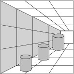Optical illusion showing monocular depth